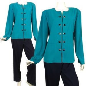VTG 90's Turquoise Navy Pant Top Set 12 Leslie Fay